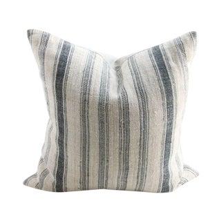 Hand-Woven Striped Linen Pillow