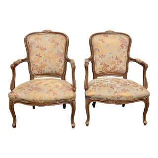 French Provincial Carved Wood Gold Floral Arm Chairs - A Pair