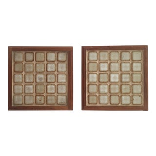 Mid-Century Studio Pottery Handmade Teak & Ceramic Tile Trivets - Set of 2