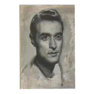 Vintage Young Male Portrait Oil Painting Study