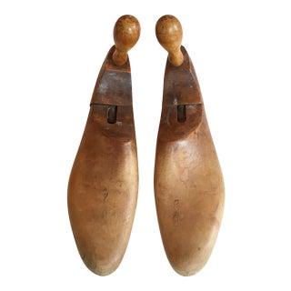 1900's Antique Wood Shoe Forms - A Pair