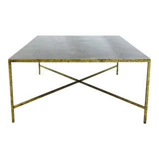 Horn Parquet Top Coffee Table with Gold Leaf Metal Base