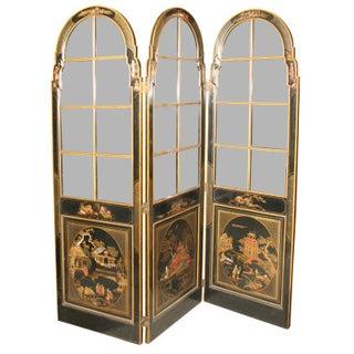 Jansen 3-Panel Chinoiserie Glass Screen