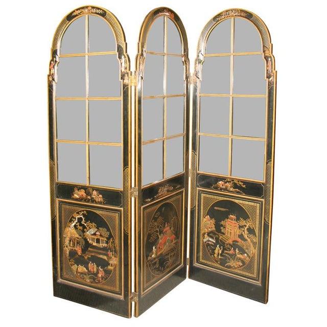 Jansen 3-Panel Chinoiserie Glass Screen - Image 1 of 9