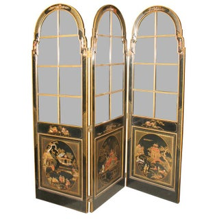 Jansen 3-Panel Chinoiserie Glass Screen