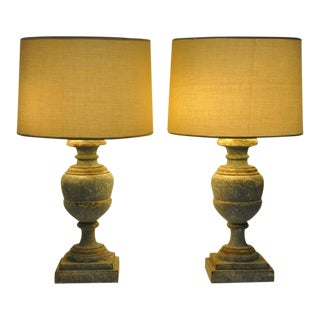 Pair of Italian Carved Lamp Bases With Two-Tone Antique Painted Finish