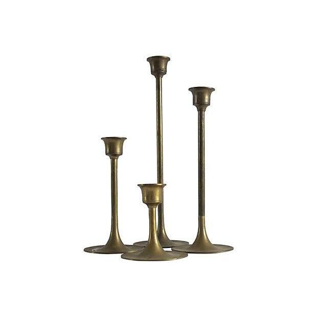 Image of Mid-century Brass Candleholders - Set of 4