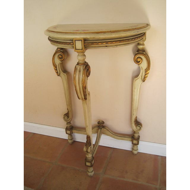 Painted Demilune Side Tables Lamp Tables - Pair - Image 6 of 11