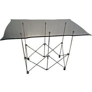 Folding Base Glass Top Console