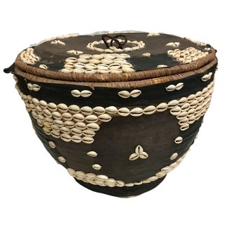 Hausa People Leather and Shells Covered Basket