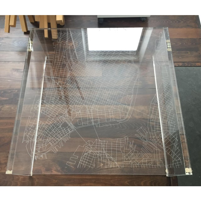 New York City Map Etched Acrylic Coffee Table - Image 4 of 6