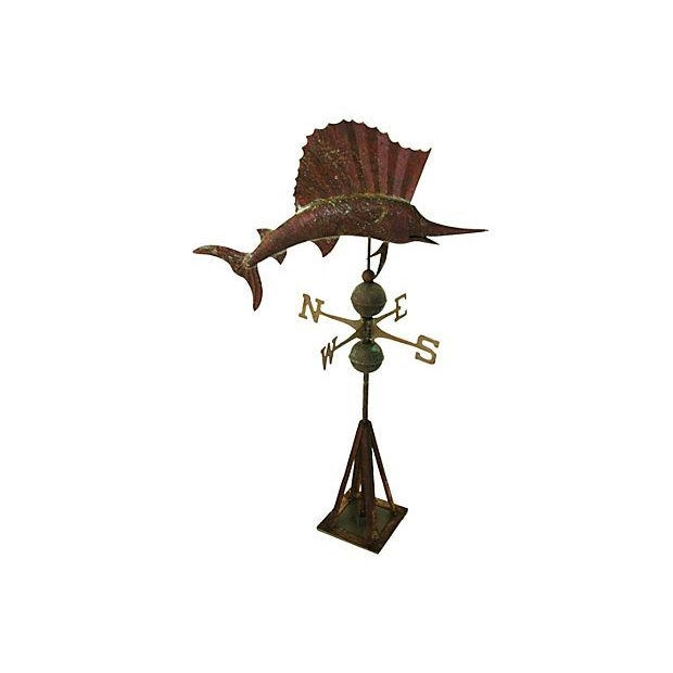 Vintage Copper Sailfish Weathervane with Stand - Image 6 of 7