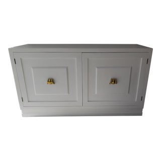 Mid-Century White Lacquer 2-Door Cabinet