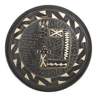 Vintage Abstract Sgraffito Pottery Plate