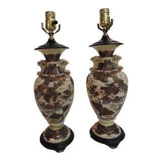 Antique Imari Porcelain Table Lamps - A Pair