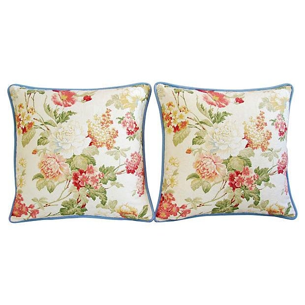 Designer English Jacquard Floral Pillows - Pair - Image 6 of 7