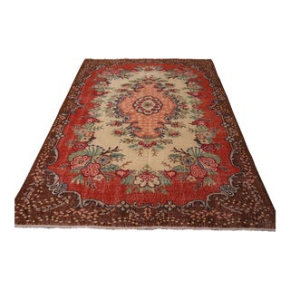 "Vintage Turkish Hand-Knotted Oushak Carpet - 5'8"" X 8'8"""
