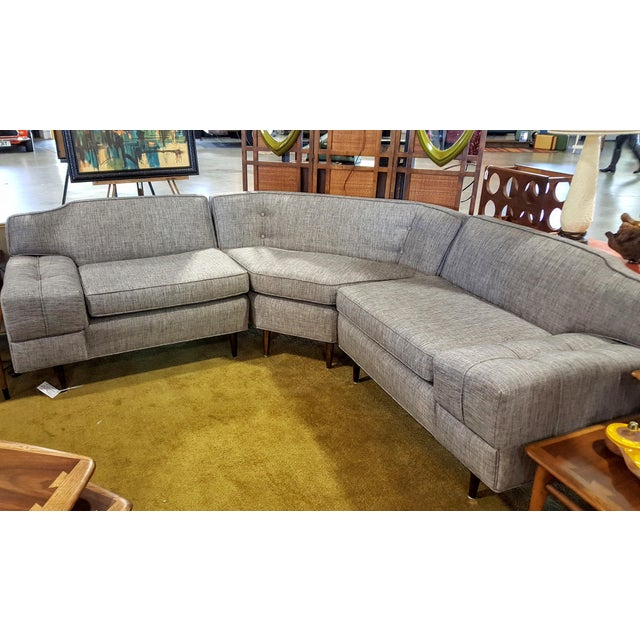 Mid-Century Modern Gray Sectional Sofa - Image 7 of 8