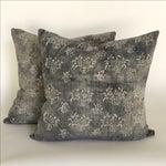 Image of Gray Batik Floral Pillows - A Pair