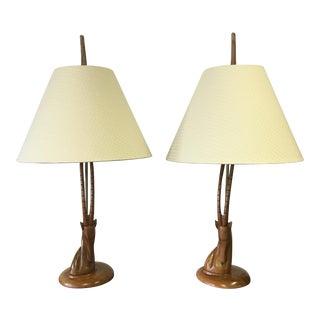 Walnut & Brass Gazelle Lamps - A Pair