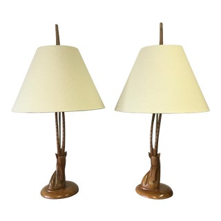 Walnut & Brass Gazelle Lamps - A Pair