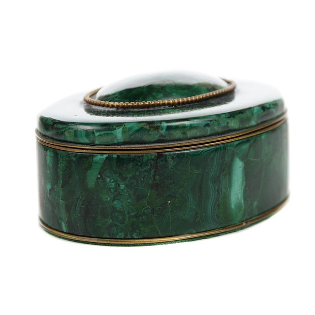 Russian Malachite Oval Compact Jewelry Box - Image 1 of 8