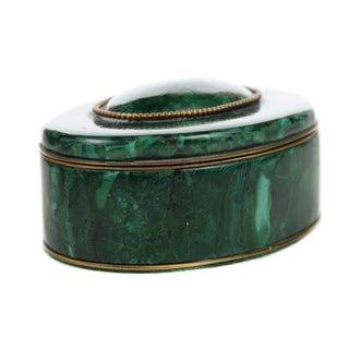 Russian Malachite Oval Compact Jewelry Box