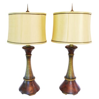 Earthy Quoizel Table Lamps & Shades - A Pair