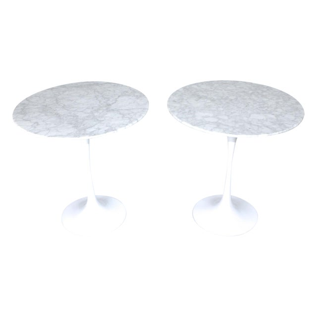 Image of Two Saarinen Style Marble Side Tables