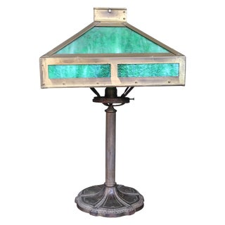 Vintage Emerald Mission Style Lamp