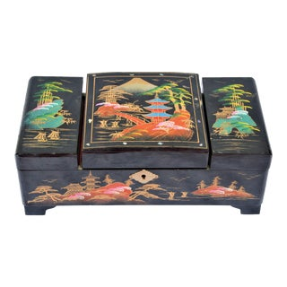 Vintage Hand Painted Asian Musical Jewelry Box