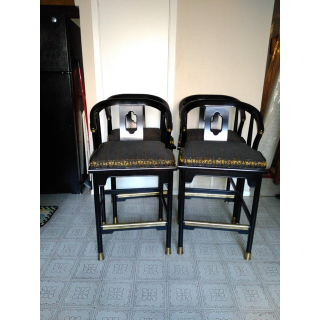 Century Chair Company Hickory Gold & Black Bar Counter Stools - A Pair - Image 4 of 11