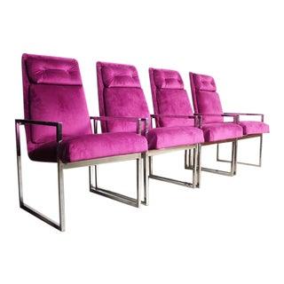 Milo Baughman Chrome Dining Chairs - Set of 4