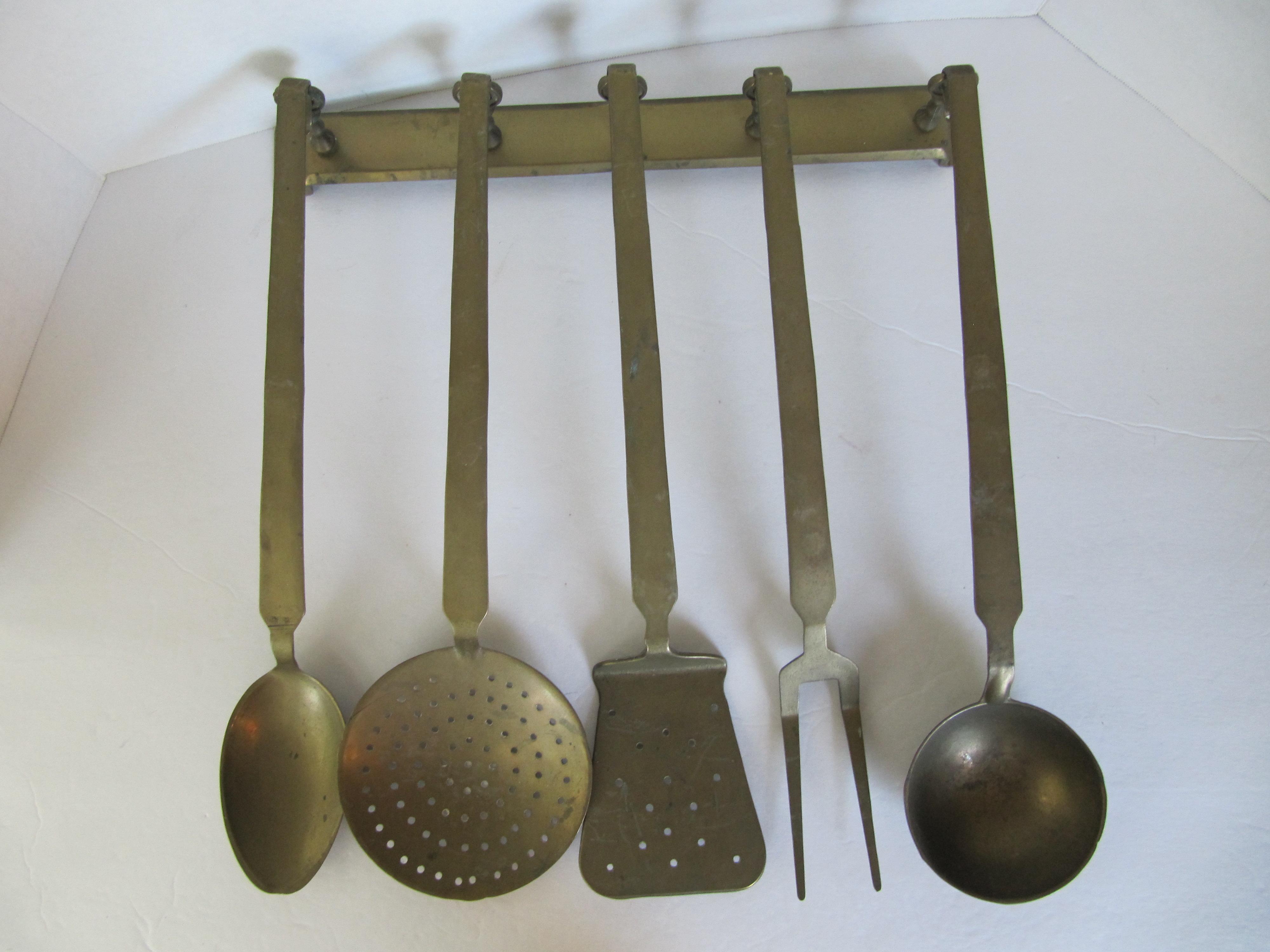 Vintage Hanging Brass Utensils   Set Of 5   Image 2 Of 7