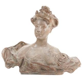 Art Nouveau French Terracotta Woman Bust