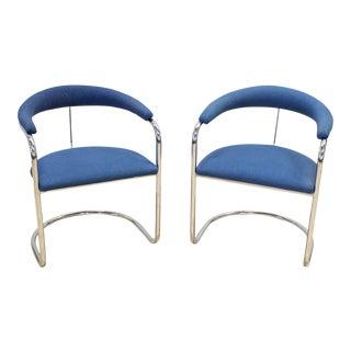 Anton Lorenz Thonet Chrome & Blue Tweed Cantilever Chairs - a Pair