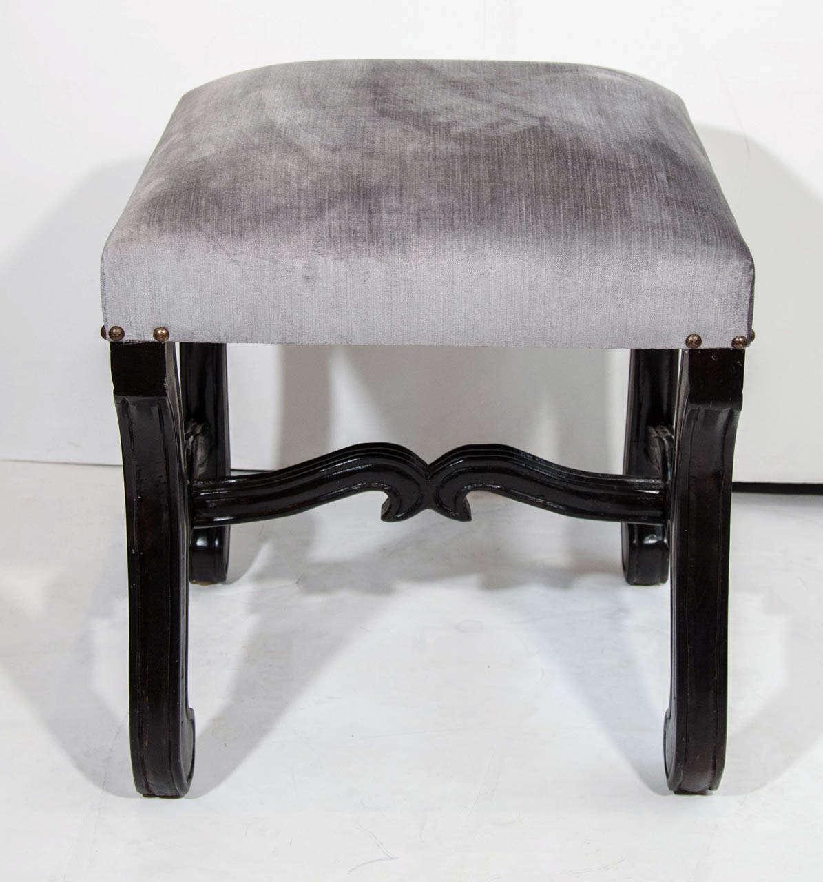 hollywood regency velvet stool with carved wood base image 3 of 5