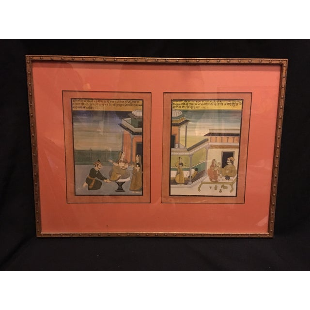 19th Century Mughal Framed Diptych Painting - Image 2 of 7