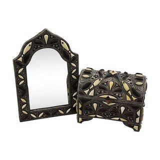 Handmade Moroccan Mirror & Chest with Bone Inlay