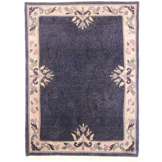 RugsinDallas Hand Knotted Wool Indian Rug - 5′5″ × 7′4″