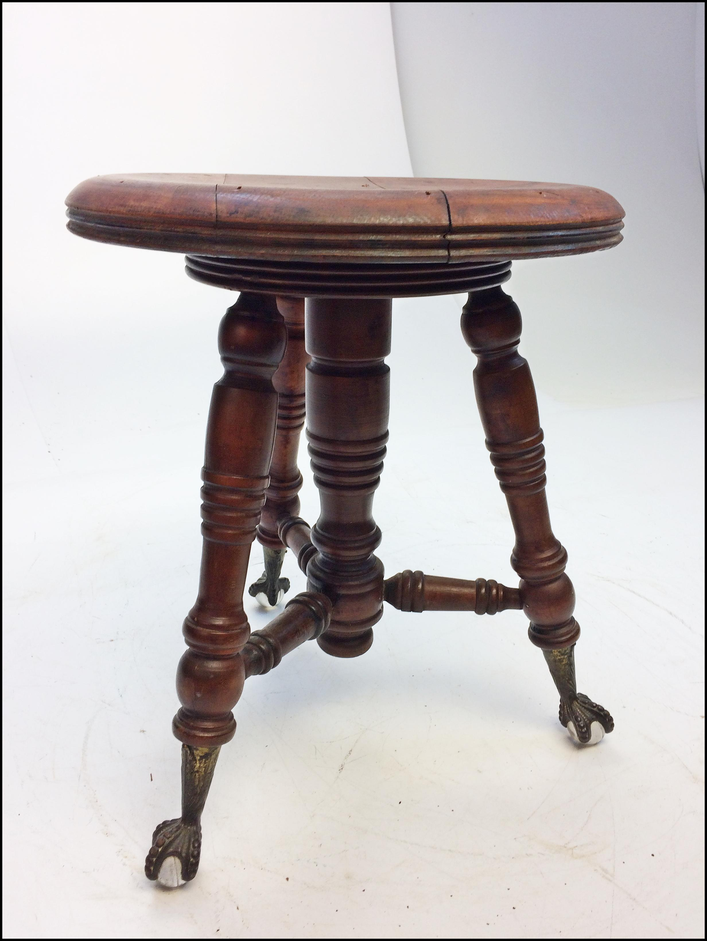 Victorian Carved Wood Piano Stool with Ball u0026 Claw Feet - Image 3 of 11  sc 1 st  Chairish & Victorian Carved Wood Piano Stool with Ball u0026 Claw Feet | Chairish islam-shia.org