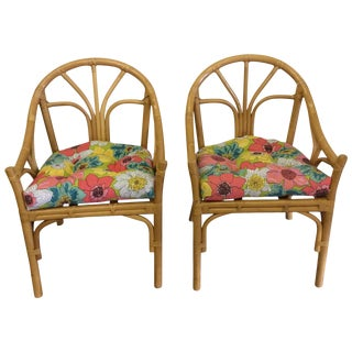 Boho Bamboo Casual Chairs - A Pair