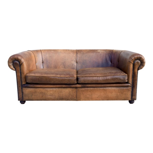 Vintage French Distressed Leather Sofa Chairish
