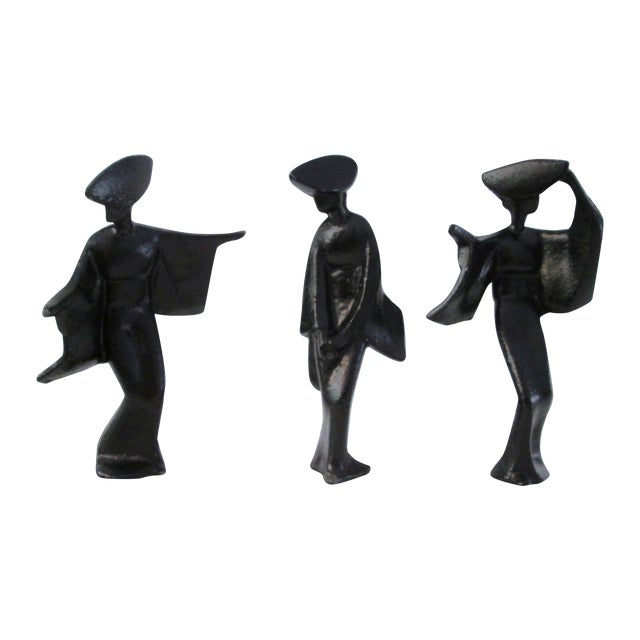 Mid-Century Cast Iron Black Geisha Dancers - S/3 - Image 1 of 4