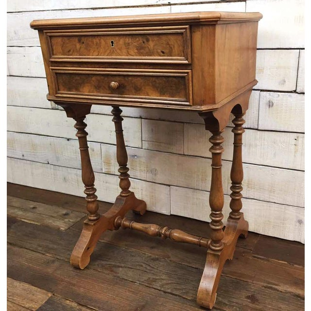 Antique French Vanity Armoire Desk, Burl Wood & Walnut - Image 4 of 10
