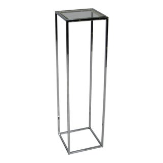 Chrome Pedestal with Brass Trim in the style of Milo Baughman