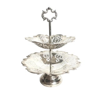 Vintage Silver Plated Two-Tier Tray