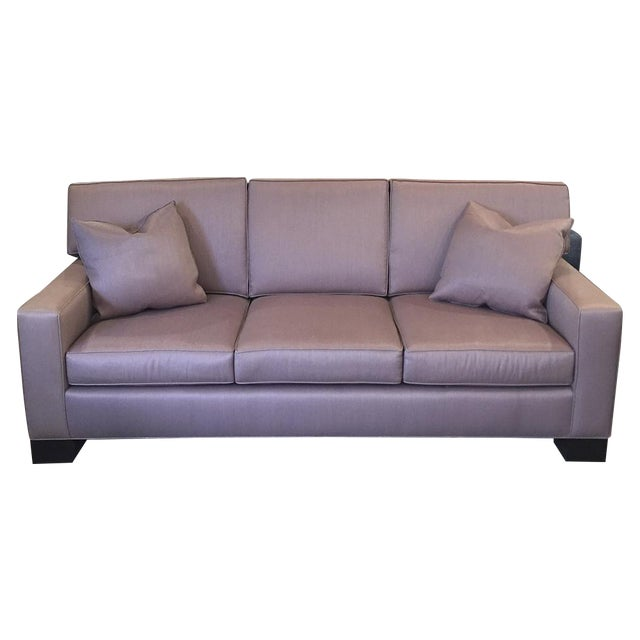 Custom Mauve Linen Designer Sofa with Pillows - Image 1 of 11