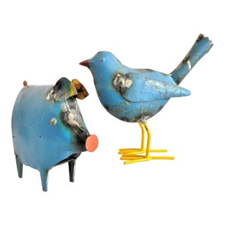 Recycled Metal Pig and Bird Metal Sculptures - A Pair