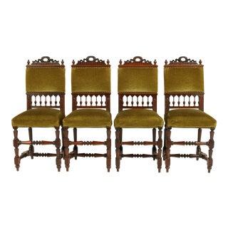 French Henry II Green Velvet Chairs S/4